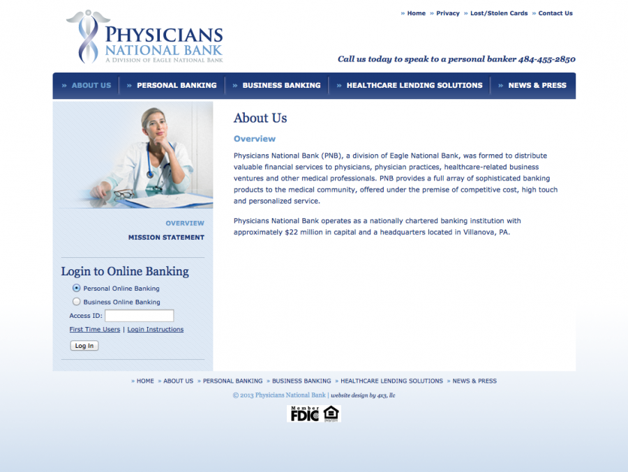 Physicians National Bank, About Section of Website