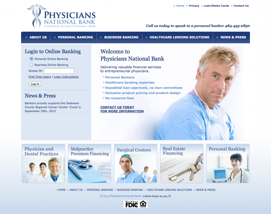 Physicians National Bank, Homepage Design