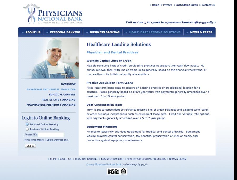 Physicians National Bank, Website Internal Landing Page
