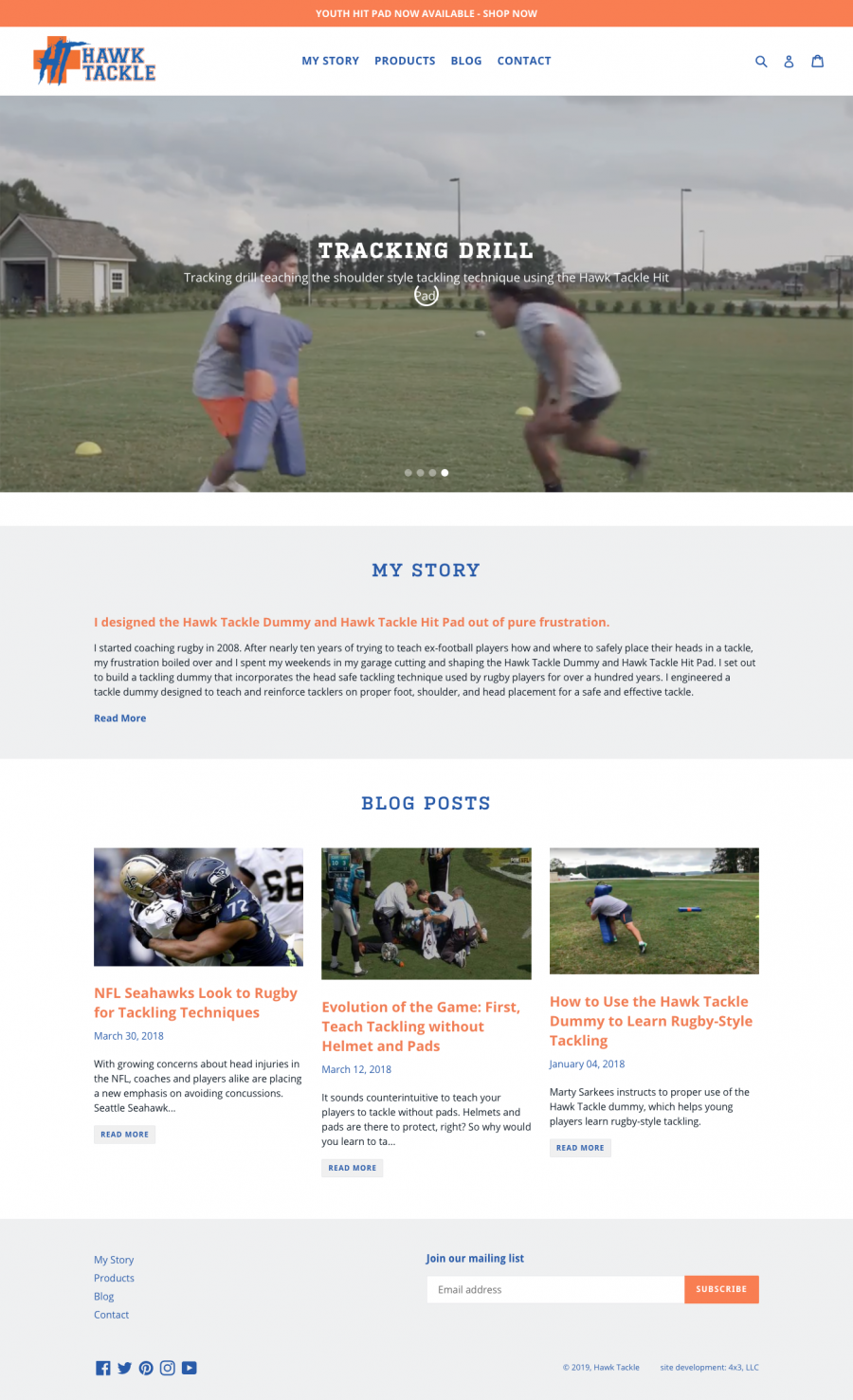 Hawk Tackle Homepage containing an overview of brand message